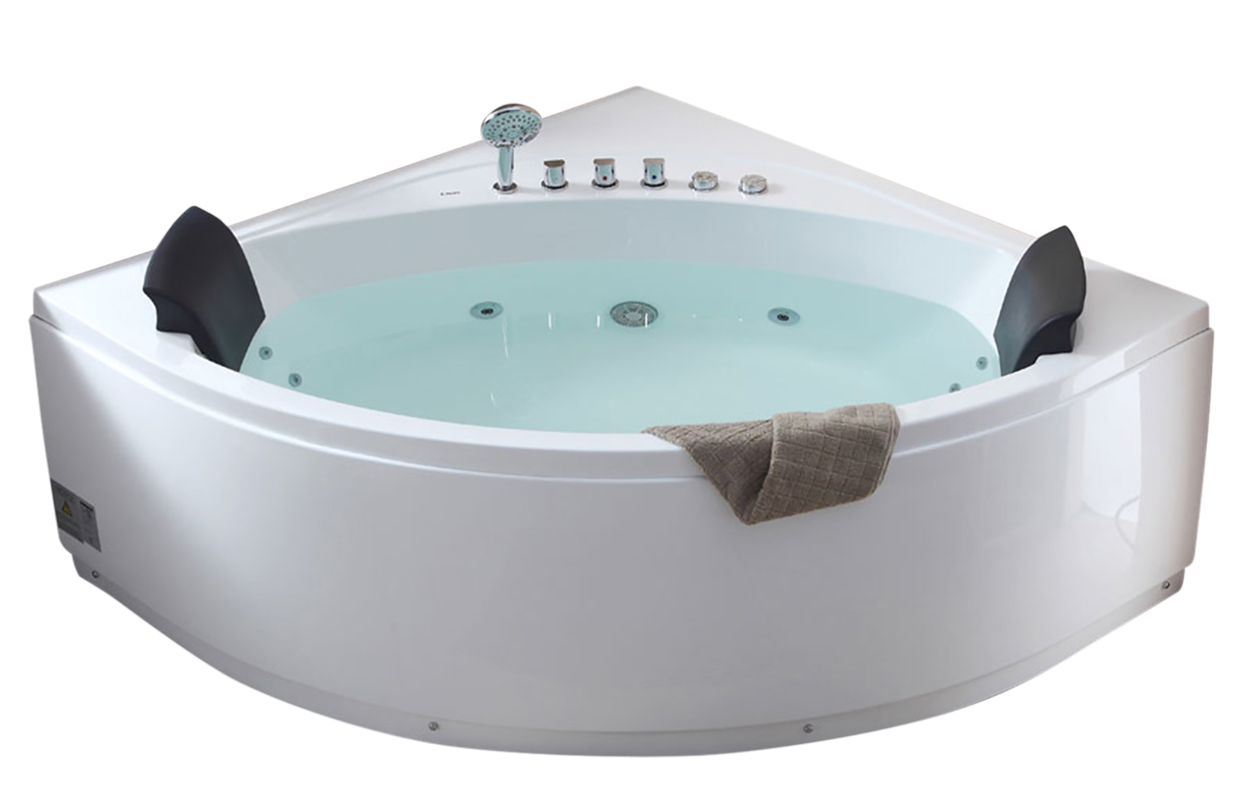 EAGO AM200 5\' Rounded Modern Double Seat Corner Whirlpool Bath Tub ...