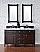 Contemporary 60 inch Double Sink Bath Vanity Mahogany Finish No Top