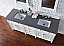 Contemporary 72 inch Double Sink BathVanity Cottage White Finish No Top