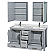 Accmilan 60 inch Transitional Grey Finish Double Sink Bathroom Vanity