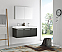 Fresca Mezzo 48 inch Black Wall Mounted Double Sink Modern Bathroom Vanity