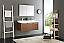 Fresca Mezzo 48 inch Teak Wall Mounted Double Sink Modern Bathroom Vanity