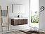 Fresca Mezzo 48 inch Walnut Wall Mounted Double Sink Modern Bathroom Vanity