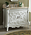40 inch Adelina Antique White Finish Bathroom Vanity Beige Marble Top