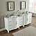 89 inch Double Sink Bathroom Vanity White Finish Carrara Marble Top
