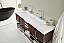 72 inch Double Bath Vanity Coffee Oak Finish with Integrated Sink Top