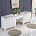 103 inch Transitional Double Bathroom Vanity White Finish Marble Top