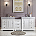 90 inch Double Sink Bathroom Vanity White Finish Integrated Carrara Marble Sink