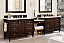 "Issac Edward Encore 122"" Double Vanity Set, Burnished Mahogany with Makeup Table side"