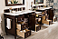 "Issac Edward Encore 122"" Double Vanity Set, Burnished Mahogany with Makeup Table open"