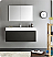 "Fresca Mezzo 48"" Black Wall Hung Modern Bathroom Vanity with Faucet, Medicine Cabinet and Linen Side Cabinet Option"