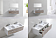 "Modern Lux 48"" Ocean Gray and Nature Wood Wall Mount Double Sink Modern Bathroom Vanity"