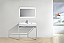 """Modern Lux 36"""" Stainless Steel Console w/ White Acrylic Sink - Chrome"""