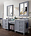 "Copper Cove Encore 86"" Double Bathroom Vanity Set, Silver Gray with Makeup Table"