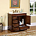 "36"" Single Sink Cabinet - Crema Marfil Top, Undermount Ivory Ceramic Sinks (3-hole)"