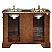 """48"""" Double Sink Cabinet - Baltic Brown Top, Undermount Ivory Ceramic Sinks (3-hole)"""