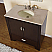 "36"" Espresso Single Sink Cabinet - Cream Marfil Marble Top, Under Mount, White Ceramic Sink (3 holes)"