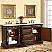"72"" Double Sink Cabinet - Travertine Top, Undermount Ivory Ceramic Sinks (3-hole)"