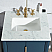 "Elizabeth 24"" Single Sink Carrara White Marble Vanity In Monarch Blue With F2-0013-06-FX Lavatory Faucet"