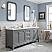 "Queen 72"" Wide Cashmere Grey Double Sink Quartz Carrara Bathroom Vanity"