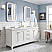 "Queen 72"" Wide Pure White Double Sink Quartz Carrara Bathroom Vanity"