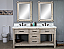 """72"""" Rustic Solid Fir Double Sink Vanity with Carrara White Marble Top Beveled Edge and Rectangular Sink - No Faucet"""