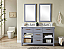 """48"""" Double Sink Bathroom Vanity in Grey Finish with Arctic Pearl Quartz Marble Top - No Faucet"""