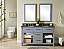 """60"""" Double Sink Bathroom Vanity in Grey Finish with Polished Textured Surface Granite Top - No Faucet"""