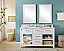 """60"""" Double Sink Bathroom Vanity in White Finish with Arctic Pearl Quartz Marble Top - No Faucet"""