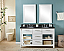 """60"""" Double Sink Bathroom Vanity in White Finish with Limestone Top - No Faucet"""