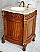 "26"" Adelina Antique Style Single Sink Bathroom Vanity Antique Walnut Finish with Beige Stone Countertop"