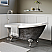 """Cambridge Scorched Platinum 67"""" x 28"""" Acrylic Slipper Bathtub with No Faucet Holes and Polished Chrome Ball and Claw Feet"""