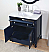 "34"" Navy Blue Bathroom Single Sink Vanity with White Marble Countertop"