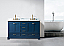 """60"""" Double Sink Bathroom Vanity in Blue Finish with Carrara White Marble Top"""