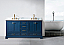 """72"""" Double Sink Bathroom Vanity in Blue Finish with Carrara White Marble Top"""