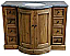 """48"""" Reclaimed Pine Single Bowed Front Vanity with Blue Stone Top Natural Finish"""