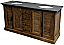 """71"""" Reclaimed Pine Double Shutter Vanity with Blue Stone Top Natural Finish"""