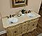 "60"" Double Tan Bathroom Vanity with Cream Marble Top"