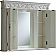 """42"""" Antique White with Matching Medicine Cabinet, Cream Marble Top"""