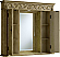 """42"""" Tan with Matching Medicine Cabinet, Cream Marble Top"""