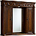 """48"""" Teak with Matching Medicine Cabinet, Cream Marble Top"""