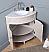 "24"" Taupe Modern Corner Bathroom Vanity with White Marble Top"
