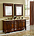 """72"""" Teak with Matching Medicine Cabinet with Cream Marble Top"""