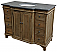 """46"""" Handcrafted Reclaimed Pine Solid Wood Single Bath Vanity Natural Pine Finish"""