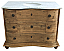 Reclaimed Pine Six Drawer Serpentine Single with White Marble Top Natural Finish