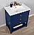 "Transitional 30"" Single Sink Vanity with Porcelain Integrated Counterop in Blue Finish"