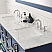 """72"""" Vanity in Royal Blue with Carrara White Marble Countertop With Mirror"""