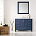"""48"""" Single Vanity in Royal Blue with Carrara White Marble Countertop With Mirror"""