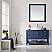 """48"""" Vanity in Royal Blue with Glass Countertop with White Vessel Sink With Mirror"""