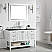 """48"""" Vanity in White with Glass Countertop with White Vessel Sink With Mirror"""